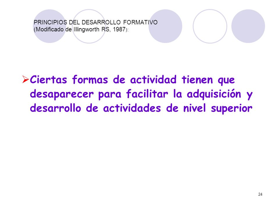 PRINCIPIOS DEL DESARROLLO FORMATIVO (Modificado de Illingworth RS, 1987):