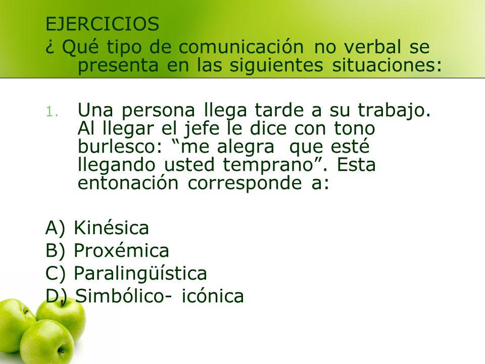 EJERCICIOS ¿ Qué tipo de comunicación no verbal se presenta en las siguientes situaciones: