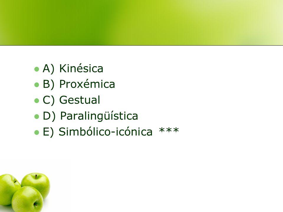 A) Kinésica B) Proxémica C) Gestual D) Paralingüística E) Simbólico-icónica ***