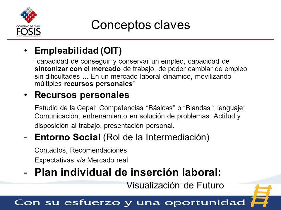 Conceptos claves Plan individual de inserción laboral: