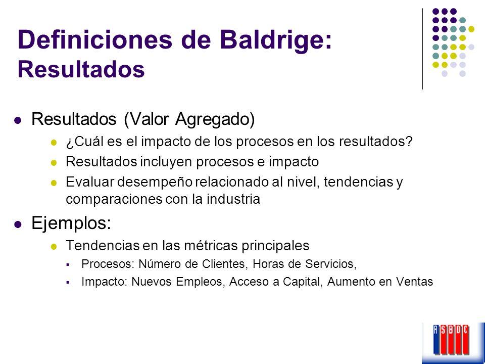 Definiciones de Baldrige: Resultados
