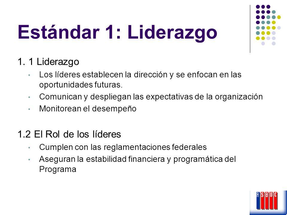 Estándar 1: Liderazgo 1. 1 Liderazgo 1.2 El Rol de los líderes