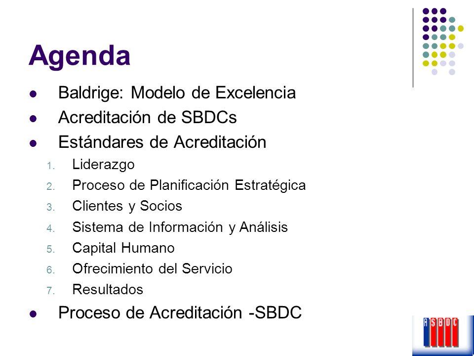 Agenda Baldrige: Modelo de Excelencia Acreditación de SBDCs