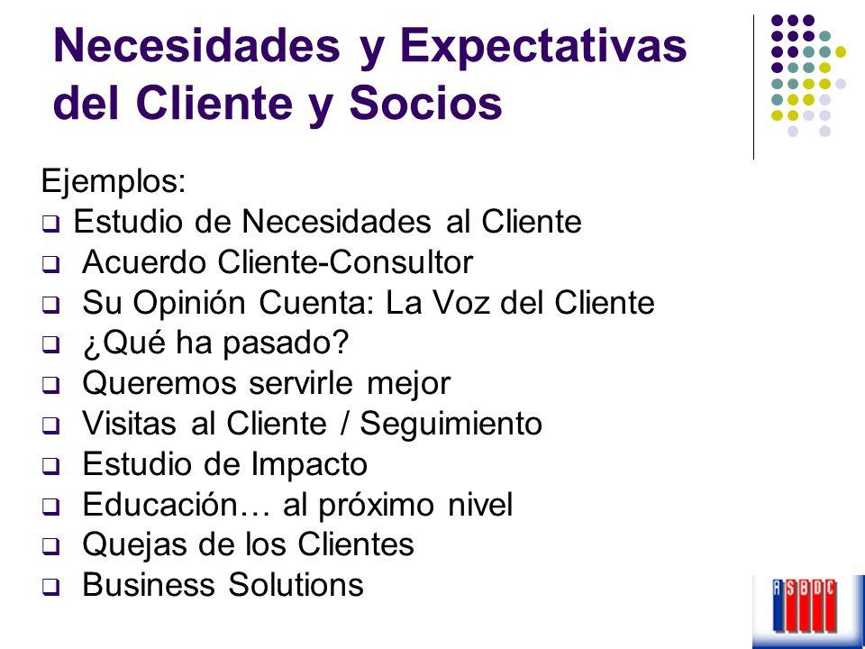 Necesidades y Expectativas del Cliente y Socios