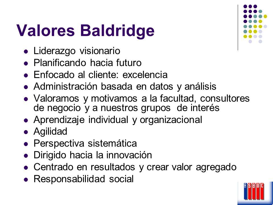 Valores Baldridge Liderazgo visionario Planificando hacia futuro