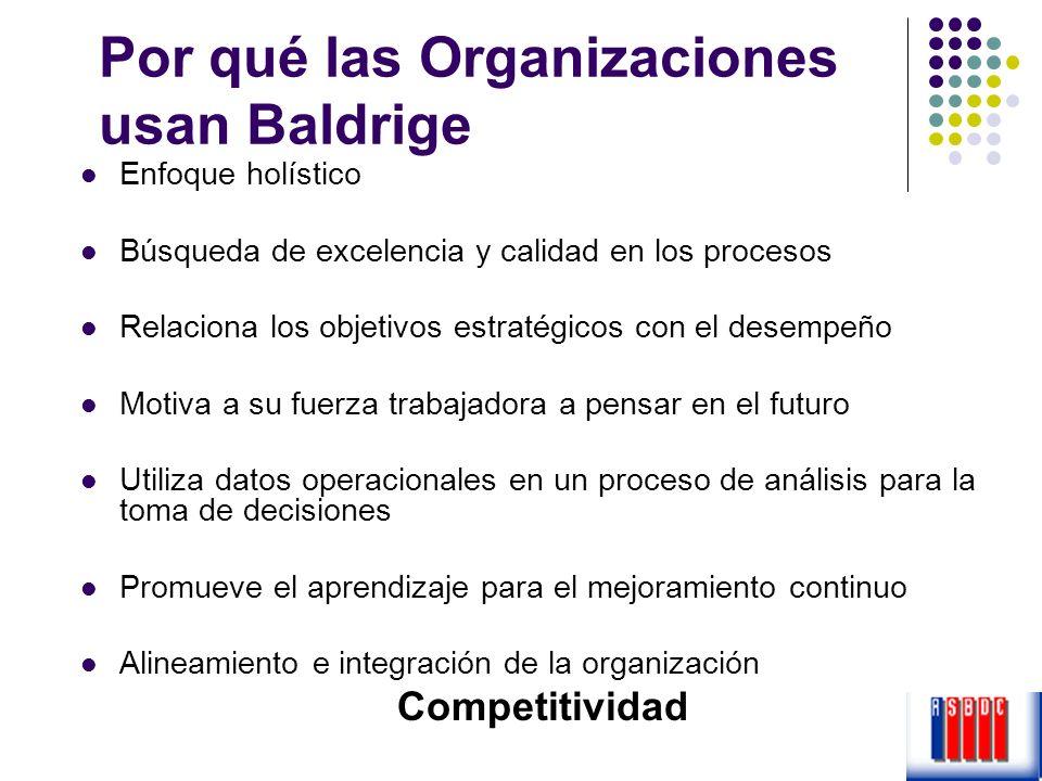 Por qué las Organizaciones usan Baldrige