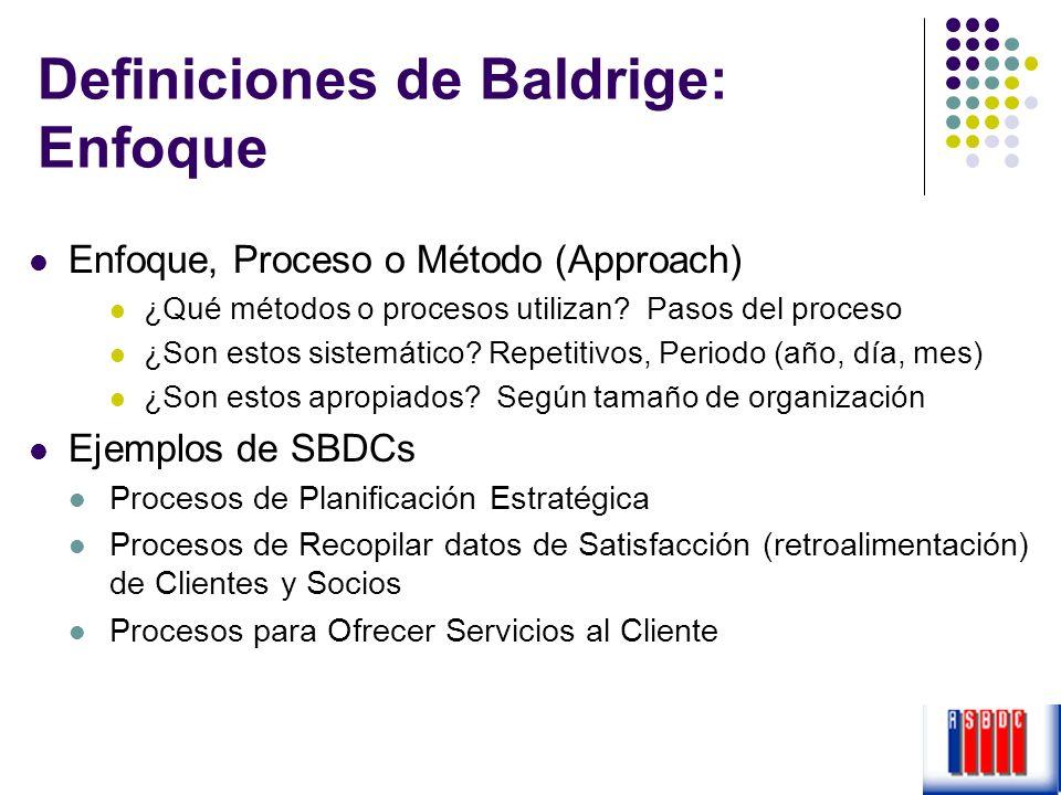 Definiciones de Baldrige: Enfoque