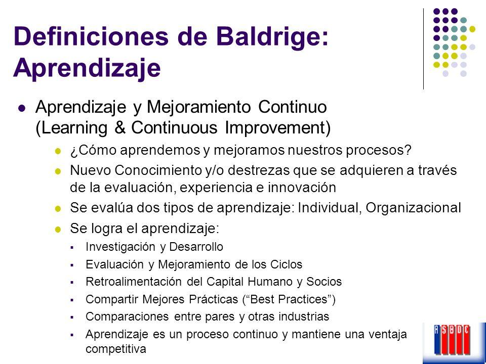Definiciones de Baldrige: Aprendizaje