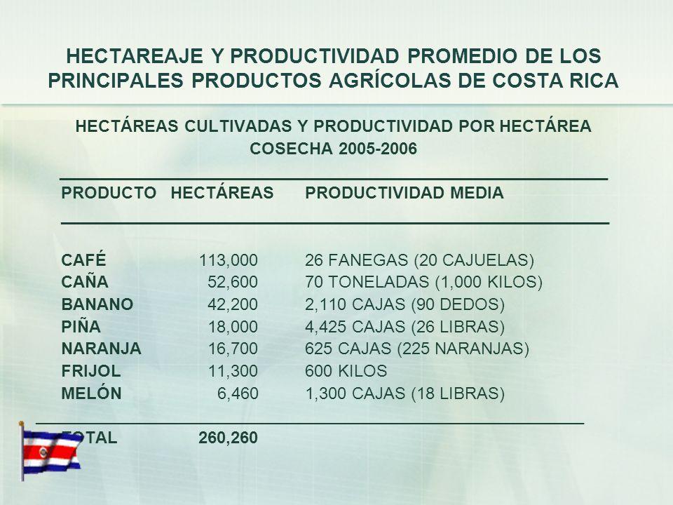 HECTAREAJE Y PRODUCTIVIDAD PROMEDIO DE LOS PRINCIPALES PRODUCTOS AGRÍCOLAS DE COSTA RICA