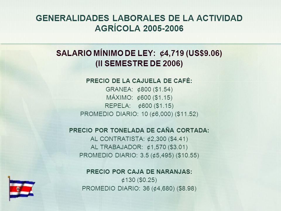 GENERALIDADES LABORALES DE LA ACTIVIDAD AGRÍCOLA 2005-2006