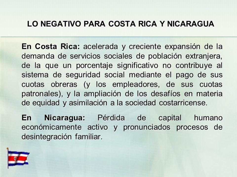 LO NEGATIVO PARA COSTA RICA Y NICARAGUA