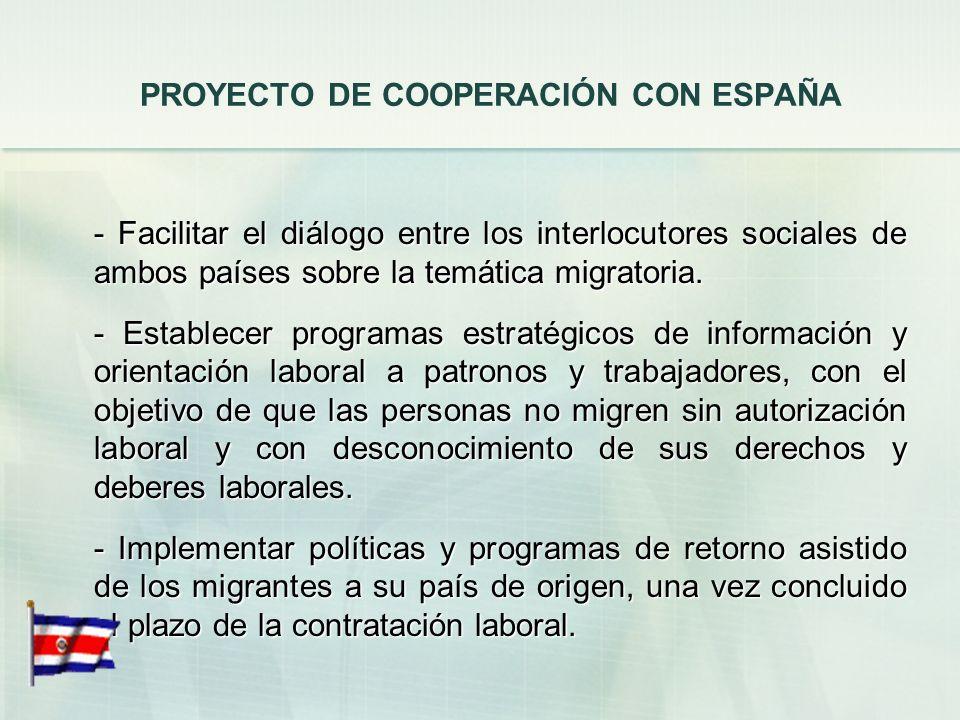PROYECTO DE COOPERACIÓN CON ESPAÑA
