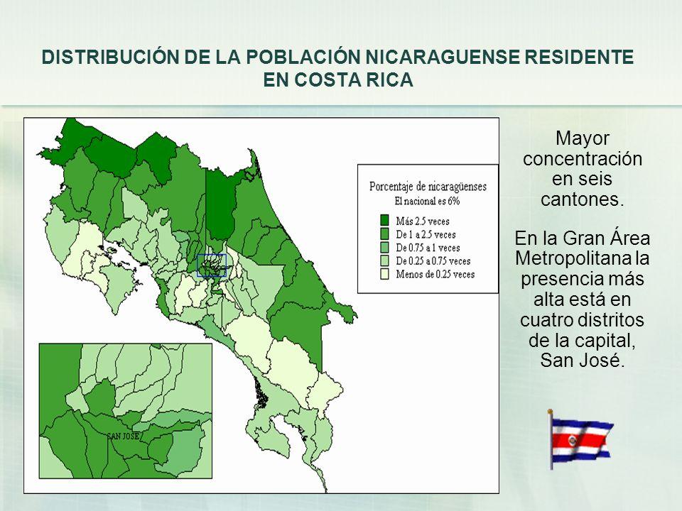DISTRIBUCIÓN DE LA POBLACIÓN NICARAGUENSE RESIDENTE EN COSTA RICA