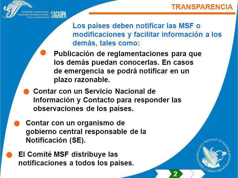El Comité MSF distribuye las notificaciones a todos los países.