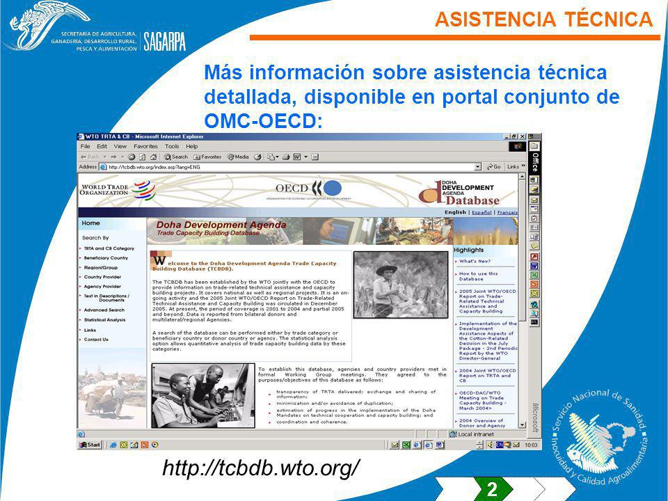 http://tcbdb.wto.org/ ASISTENCIA TÉCNICA