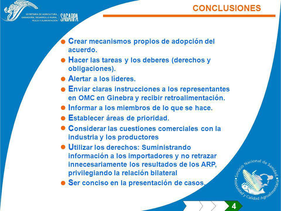 CONCLUSIONES Crear mecanismos propios de adopción del acuerdo.