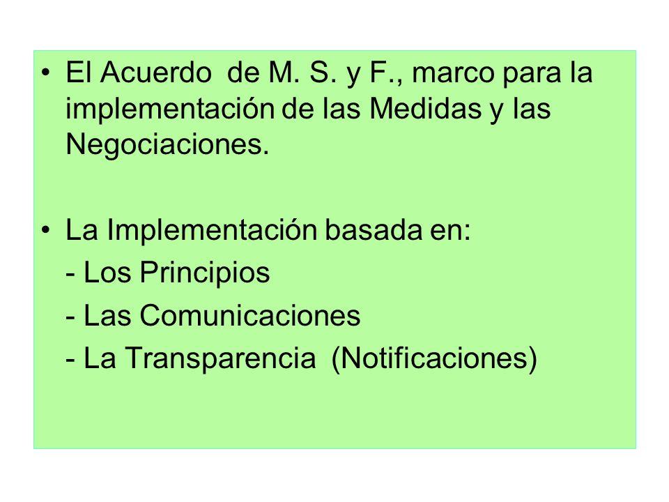 El Acuerdo de M. S. y F., marco para la implementación de las Medidas y las Negociaciones.