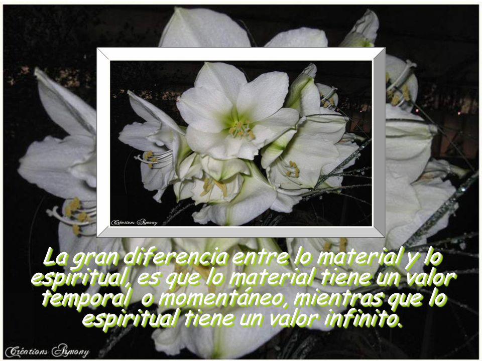 La gran diferencia entre lo material y lo espiritual, es que lo material tiene un valor temporal o momentáneo, mientras que lo espiritual tiene un valor infinito.