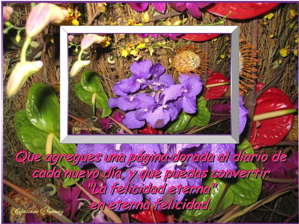 Que agregues una página dorada al diario de cada nuevo día, y que puedas convertir La felicidad eterna en eterna felicidad.