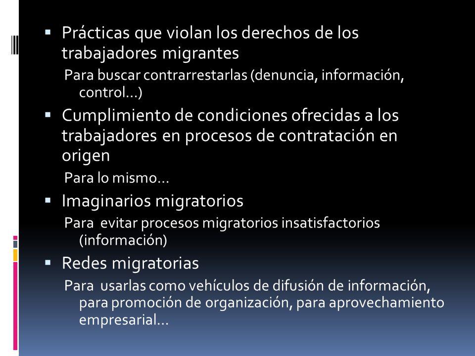 Prácticas que violan los derechos de los trabajadores migrantes