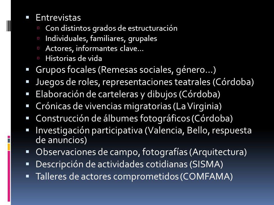 Grupos focales (Remesas sociales, género…)