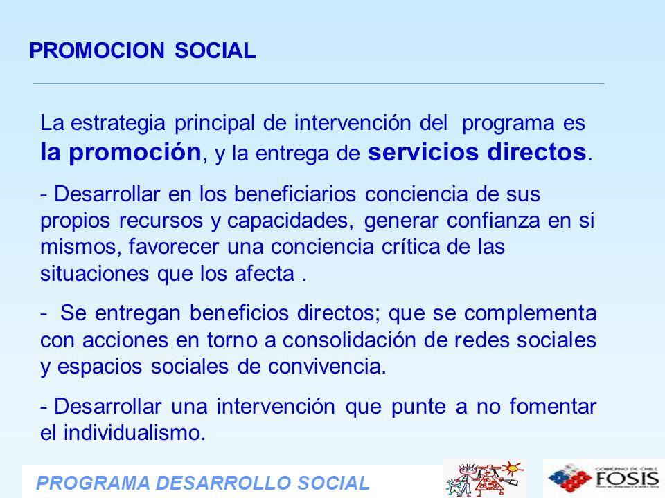 PROMOCION SOCIAL La estrategia principal de intervención del programa es la promoción, y la entrega de servicios directos.