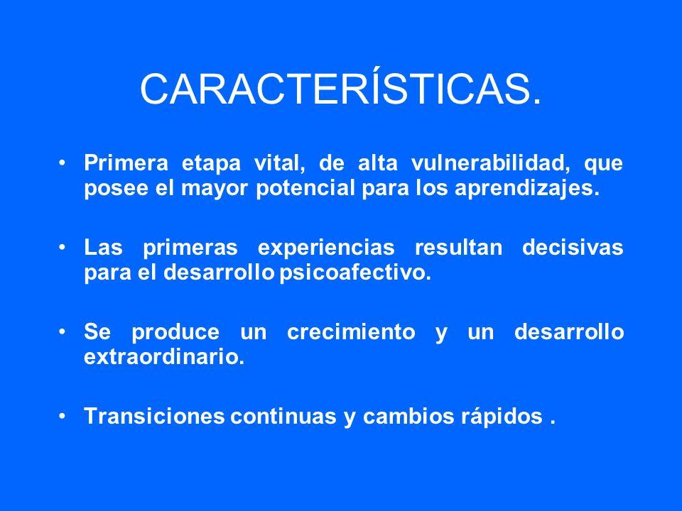 CARACTERÍSTICAS. Primera etapa vital, de alta vulnerabilidad, que posee el mayor potencial para los aprendizajes.