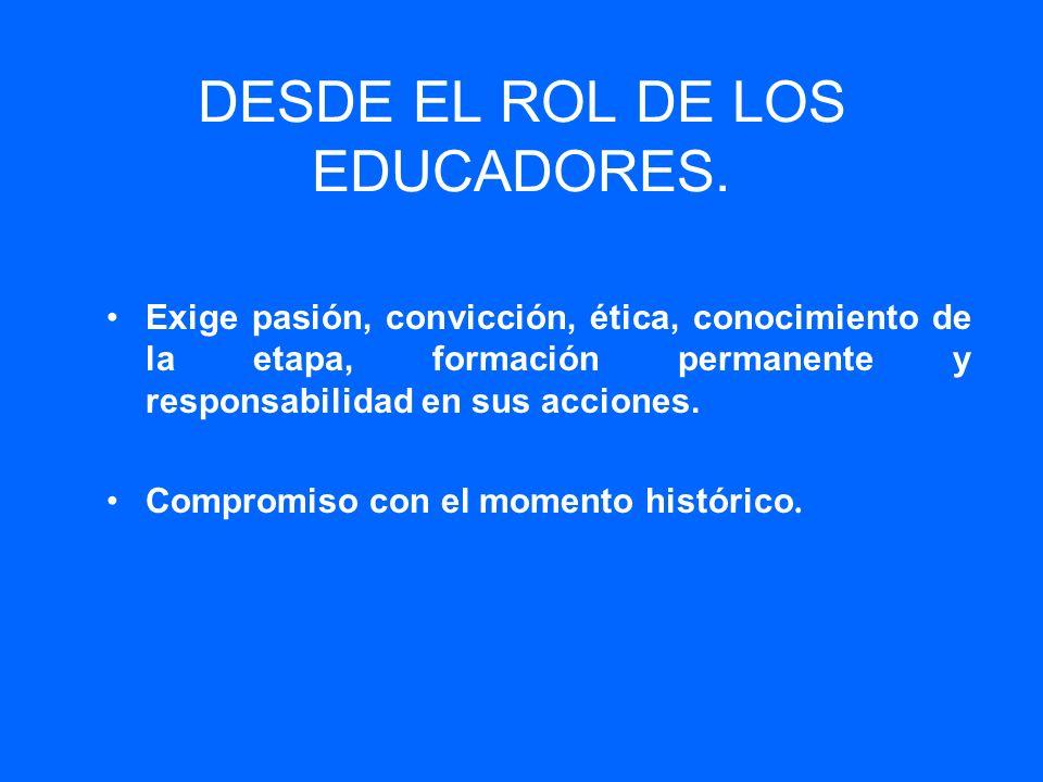 DESDE EL ROL DE LOS EDUCADORES.