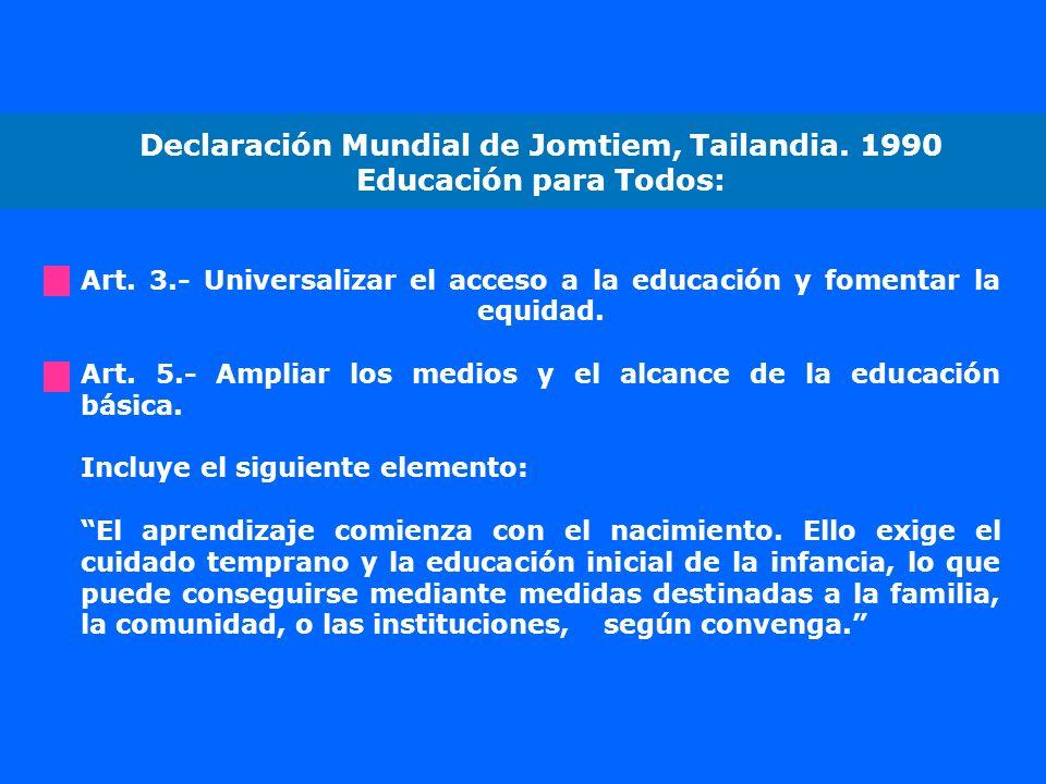Declaración Mundial de Jomtiem, Tailandia. 1990 Educación para Todos: