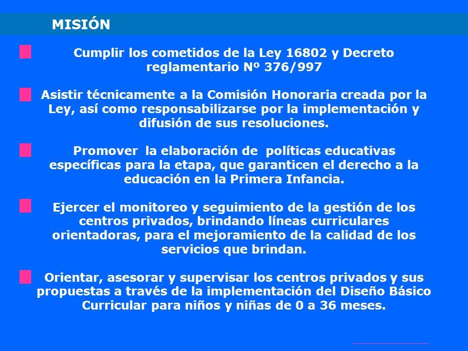 MISIÓN Cumplir los cometidos de la Ley 16802 y Decreto reglamentario Nº 376/997.