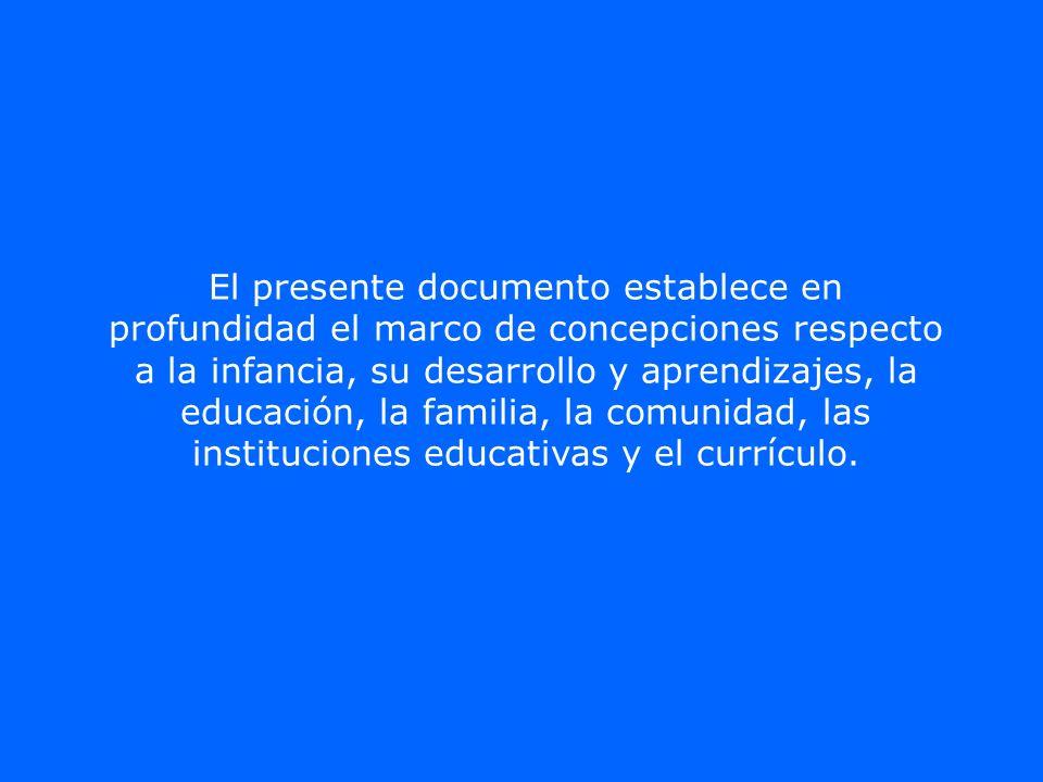El presente documento establece en profundidad el marco de concepciones respecto a la infancia, su desarrollo y aprendizajes, la educación, la familia, la comunidad, las instituciones educativas y el currículo.