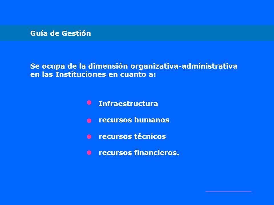 Guía de Gestión Se ocupa de la dimensión organizativa-administrativa. en las Instituciones en cuanto a: