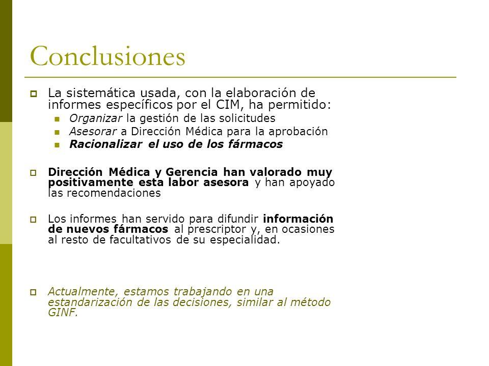 ConclusionesLa sistemática usada, con la elaboración de informes específicos por el CIM, ha permitido: