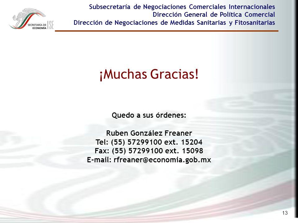 Ruben González Freaner E-mail: rfreaner@economia.gob.mx