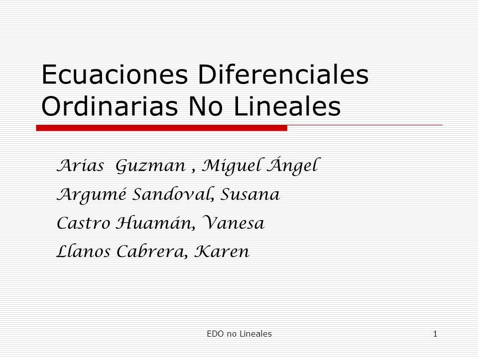 Ecuaciones Diferenciales Ordinarias No Lineales