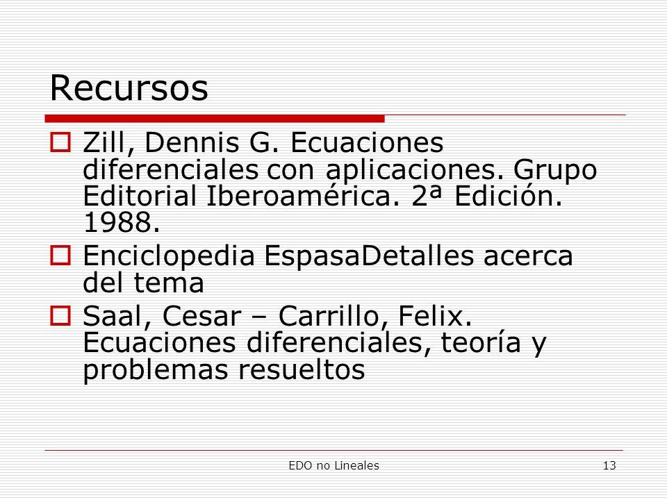 Recursos Zill, Dennis G. Ecuaciones diferenciales con aplicaciones. Grupo Editorial Iberoamérica. 2ª Edición. 1988.