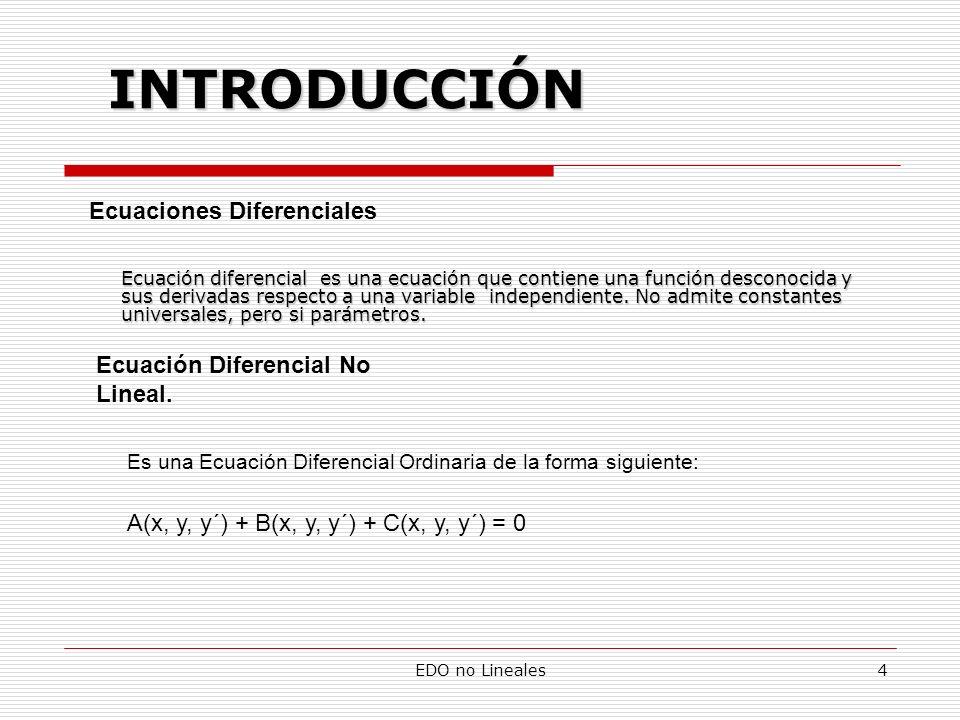 INTRODUCCIÓN Ecuaciones Diferenciales Ecuación Diferencial No Lineal.