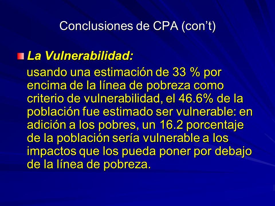 Conclusiones de CPA (con't)
