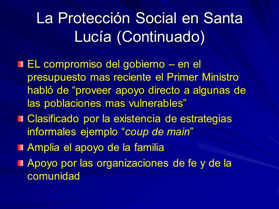 La Protección Social en Santa Lucía (Continuado)