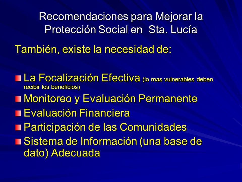Recomendaciones para Mejorar la Protección Social en Sta. Lucía