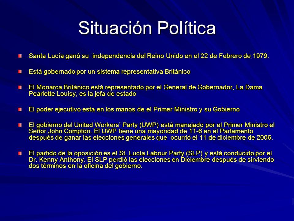 Situación Política Santa Lucía ganó su independencia del Reino Unido en el 22 de Febrero de 1979.