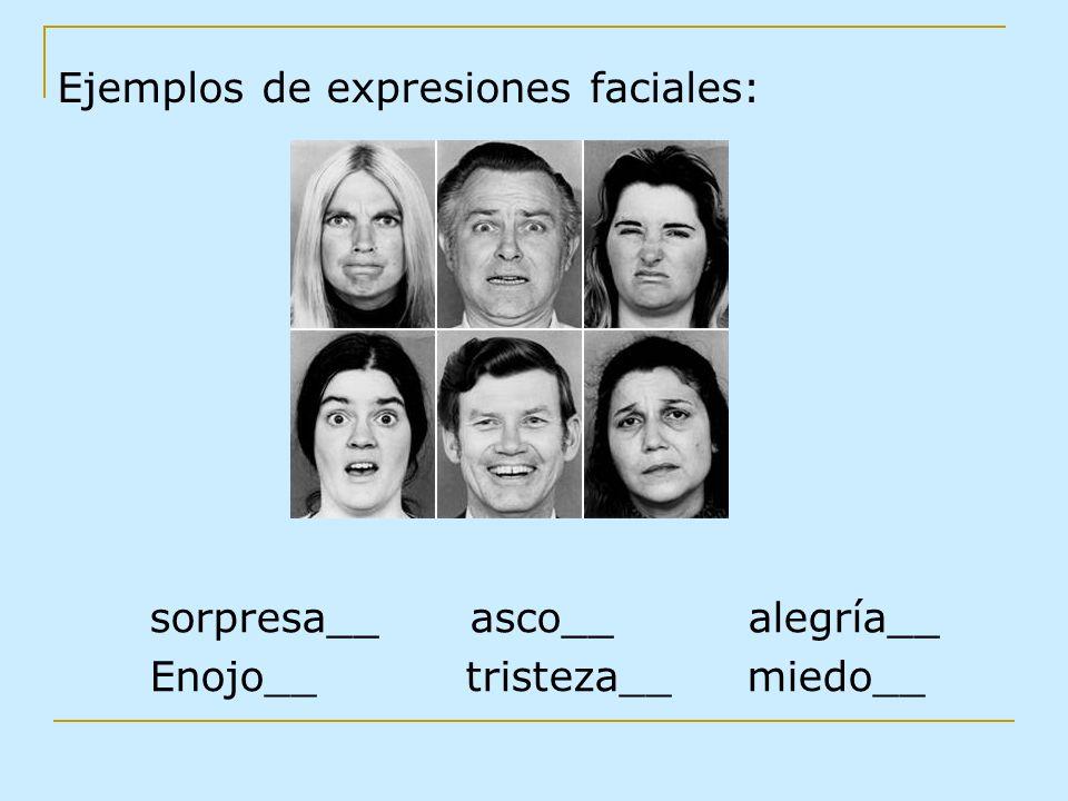 Ejemplos de expresiones faciales: