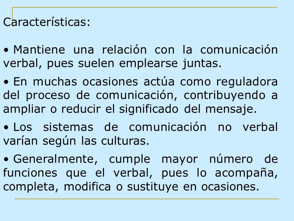 Características:Mantiene una relación con la comunicación verbal, pues suelen emplearse juntas.
