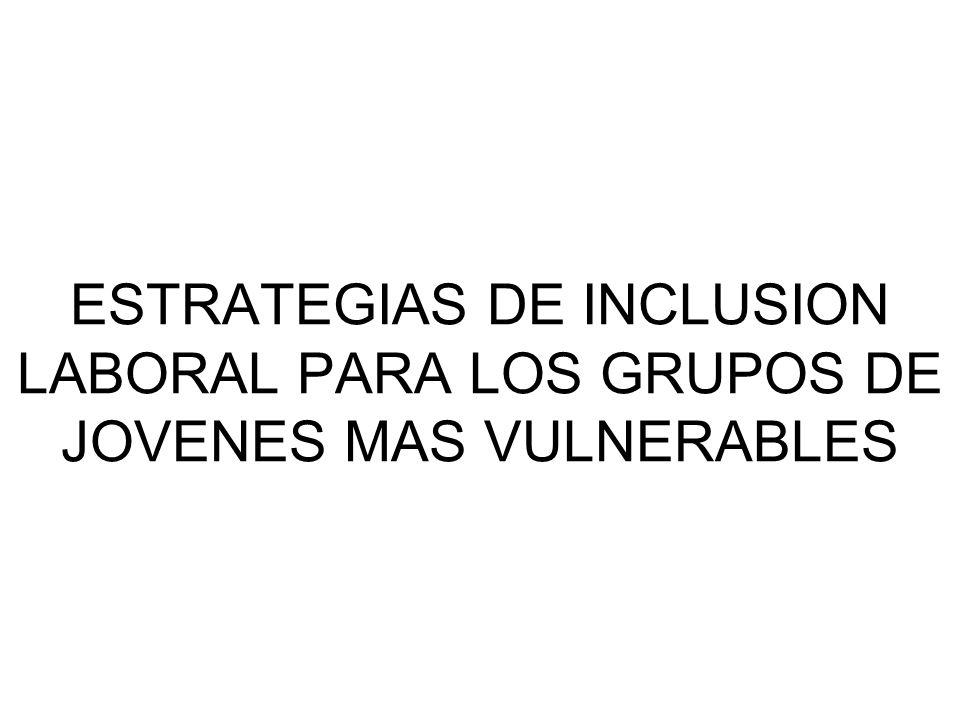 ESTRATEGIAS DE INCLUSION LABORAL PARA LOS GRUPOS DE JOVENES MAS VULNERABLES