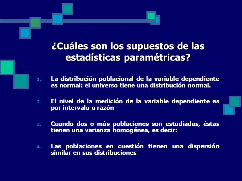 ¿Cuáles son los supuestos de las estadísticas paramétricas