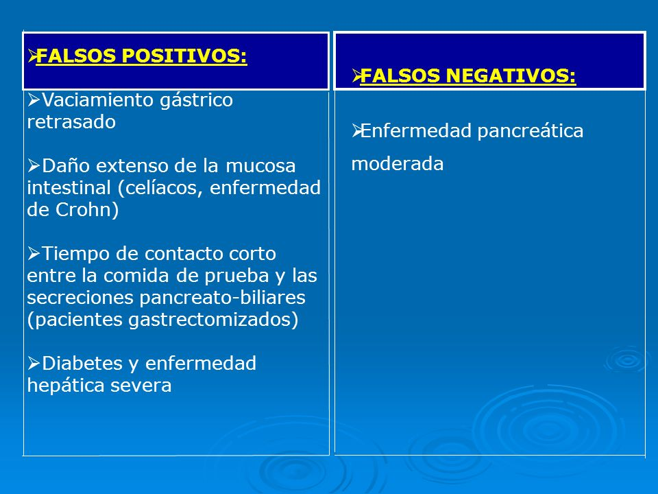 FALSOS POSITIVOS: Vaciamiento gástrico retrasado. Daño extenso de la mucosa intestinal (celíacos, enfermedad de Crohn)