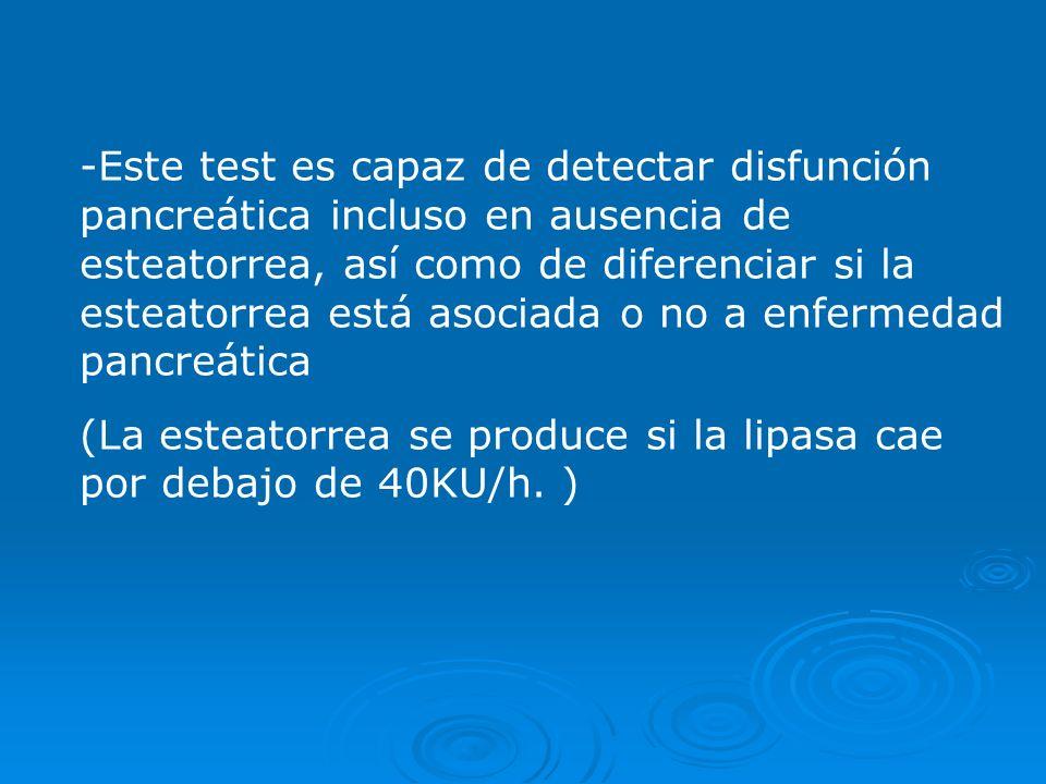Este test es capaz de detectar disfunción pancreática incluso en ausencia de esteatorrea, así como de diferenciar si la esteatorrea está asociada o no a enfermedad pancreática