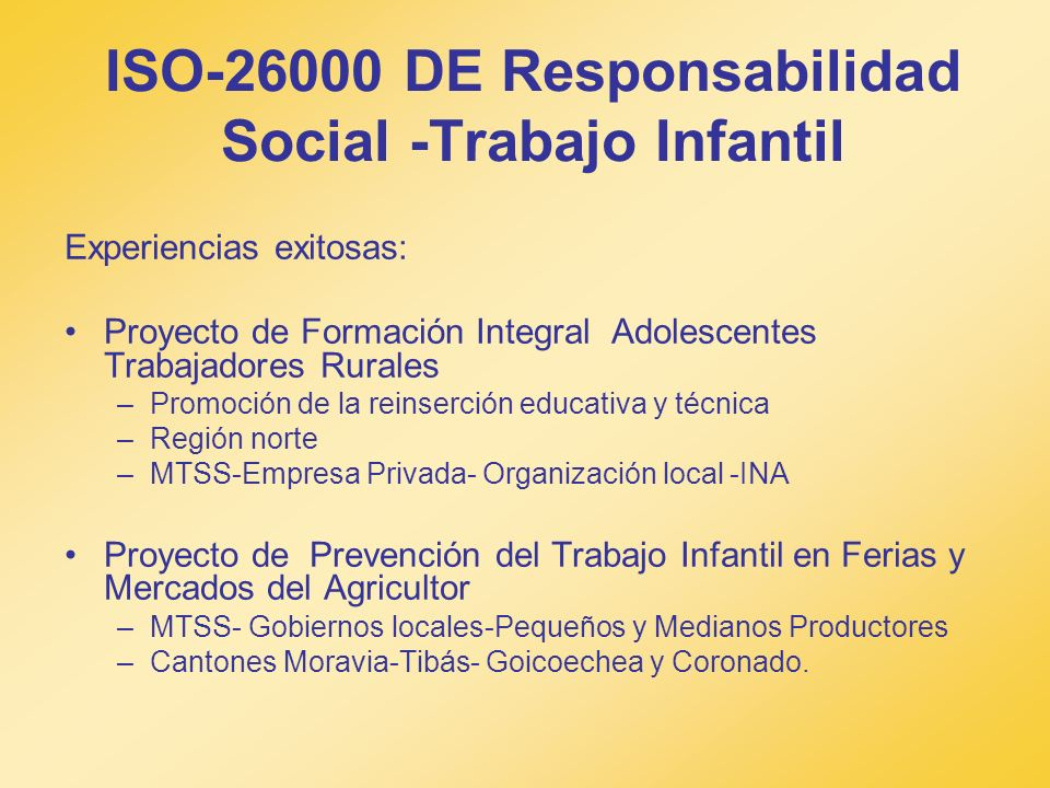 ISO-26000 DE Responsabilidad Social -Trabajo Infantil