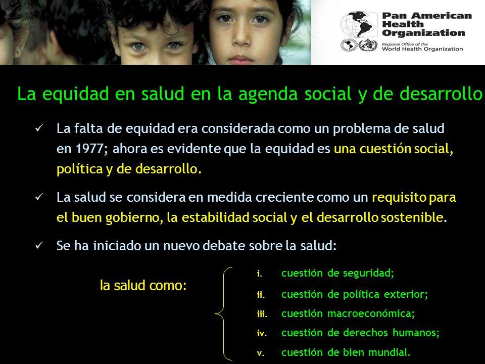 La equidad en salud en la agenda social y de desarrollo