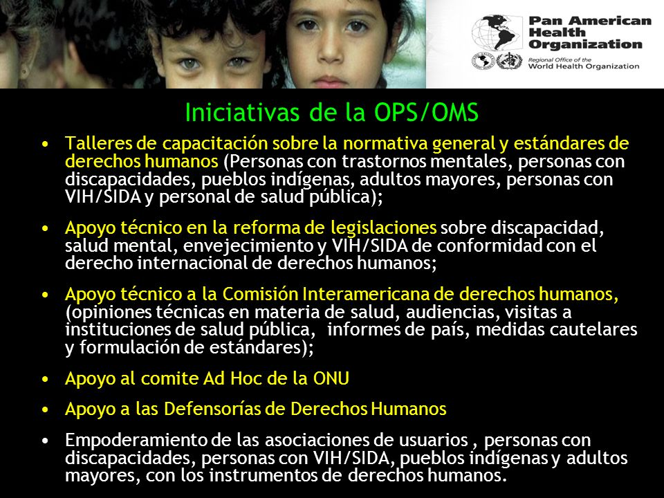 Iniciativas de la OPS/OMS